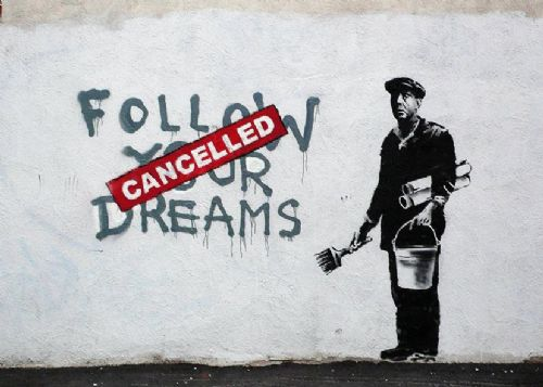 BANKSY - FOLLOW YOUR DREAMS canvas print - self adhesive poster - photo print